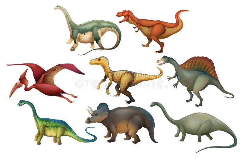 Комплект различных динозавров бесплатная иллюстрация