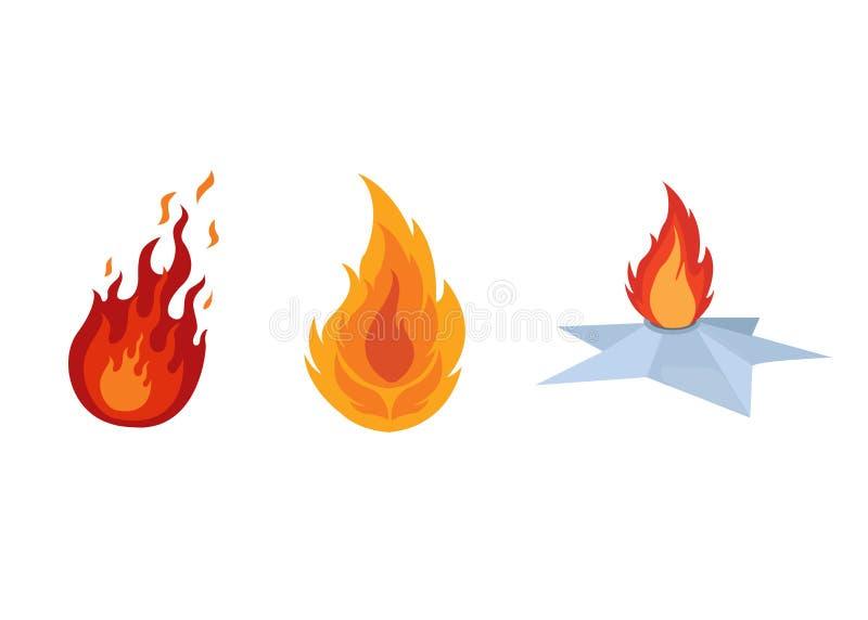 Комплект различных костров с пламенем огня, лагерных костеров, располагаясь лагерем иллюстрация вектора