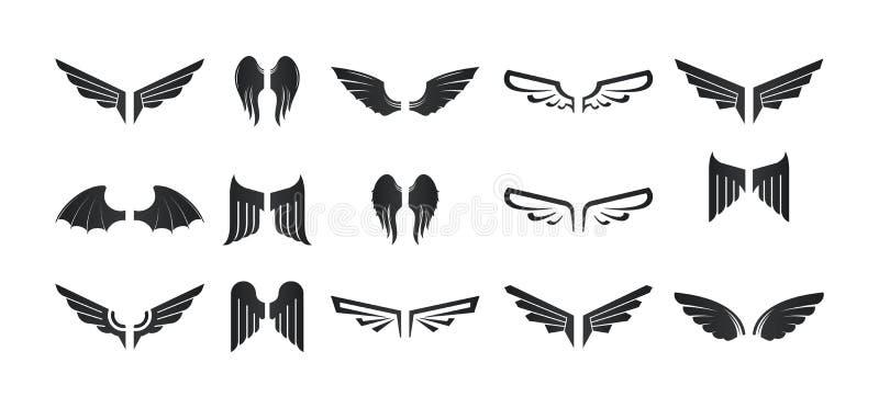 Комплект различных логотипов, значков крылов Элементы дизайна, график иллюстрация вектора