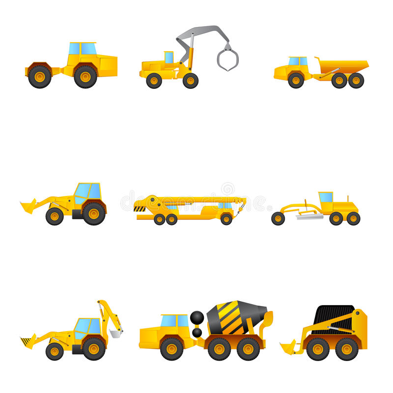 Комплект различных машин здания бесплатная иллюстрация