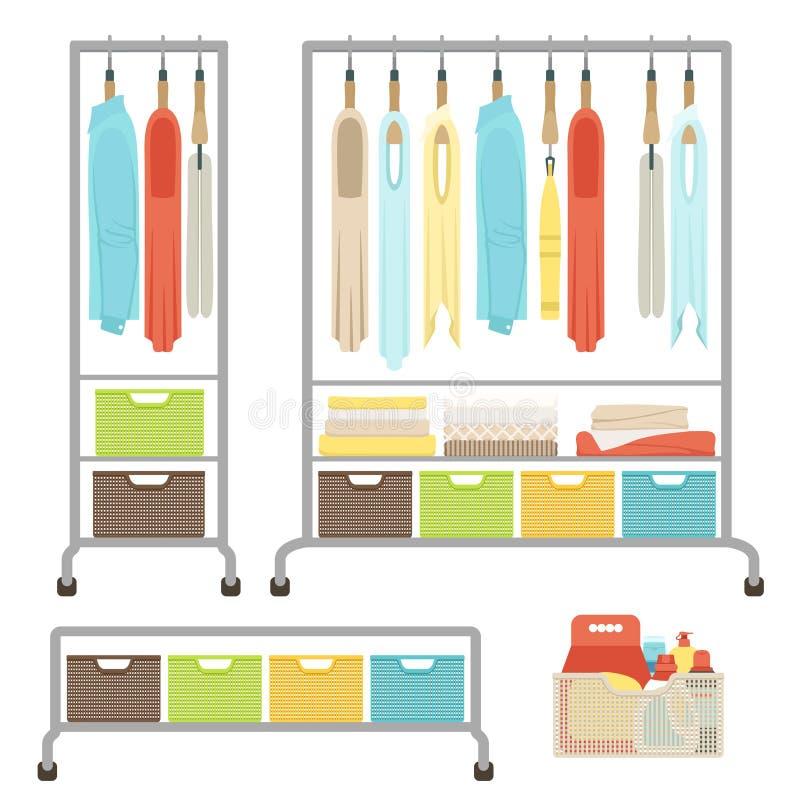 Комплект различных одежд вися на вешалках на шкафе на колесах Корзины для белья и полотенец Середины для мыть и очищать в t иллюстрация вектора
