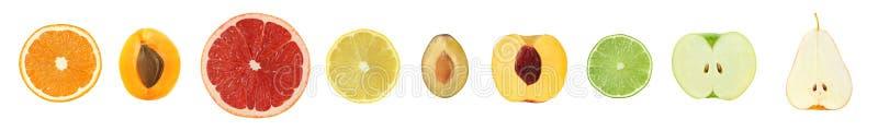 Комплект 9 различных плодоовощей отрезка Грейпфрут цитруса, апельсин, l стоковая фотография rf
