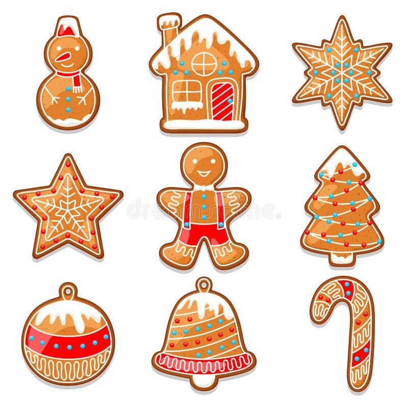 Комплект различных пряников для с Рождеством Христовым иллюстрация штока