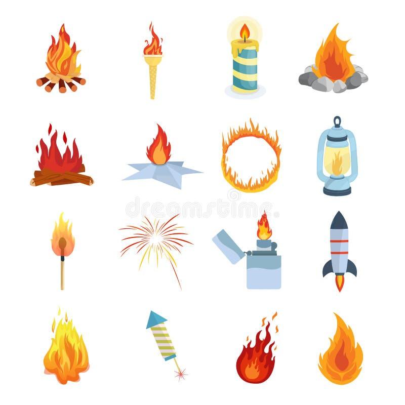 Комплект различных светов, пламен Лагерные костеры для пешего туризма, располагаясь лагерем, туризм бесплатная иллюстрация