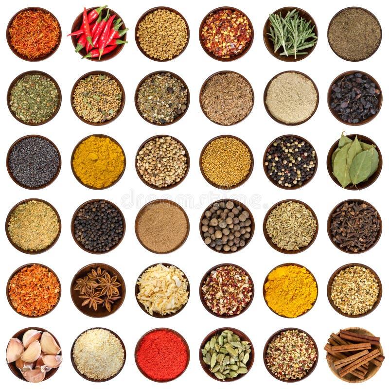 Комплект различных специй в деревянном шаре Взгляд сверху стоковые изображения