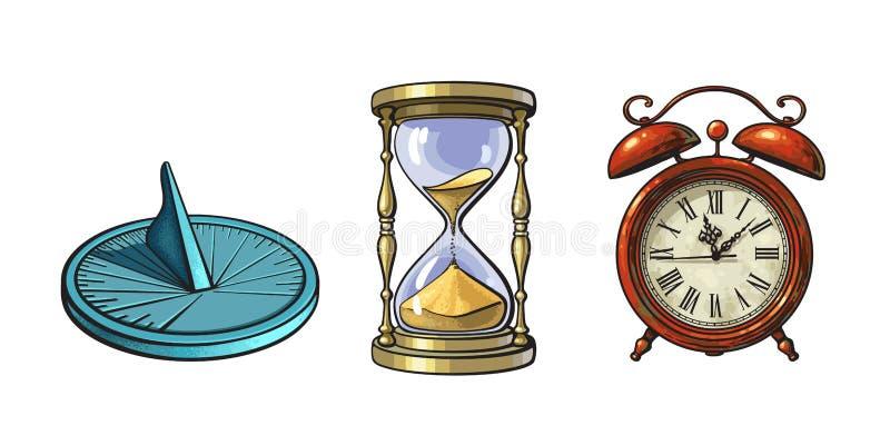 Комплект различных старых часов Солнечные часы, часы, будильник Нарисованная рукой иллюстрация вектора в винтажном стиле иллюстрация штока