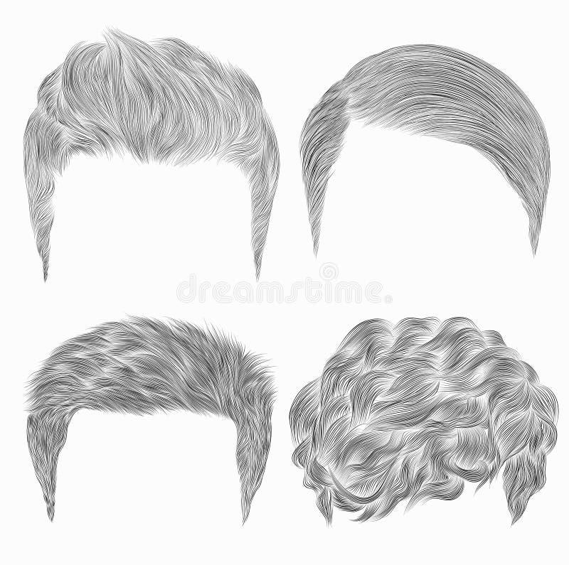 Комплект различных ультрамодных волос человека эскизы Тип красотки иллюстрация вектора