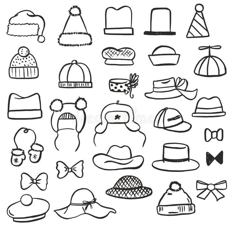 Комплект различных черно-белых шляп, смычки, mittens и другой эскиз вручают вычерченные аксессуары нарисованные с ручкой и щеткой иллюстрация штока