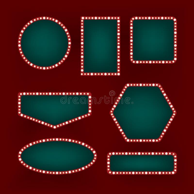 Комплект рамок сбора винограда ретро иллюстрация вектора