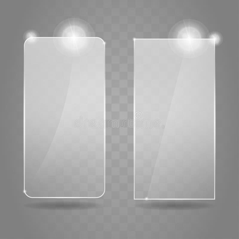 Комплект рамок слепимости стеклянный Установленные значки иллюстрации вектора Сияющие знамена стекла слепимости бесплатная иллюстрация