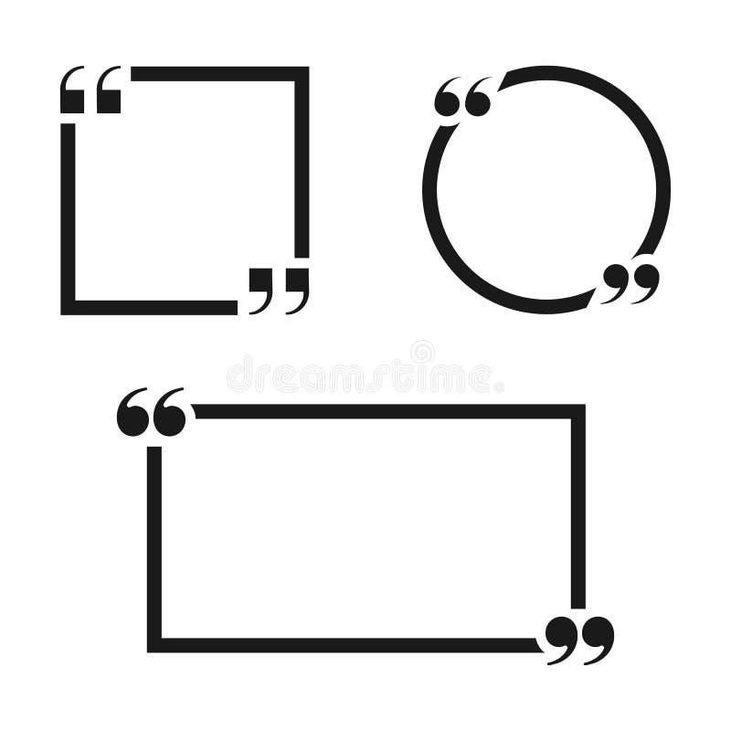 Комплект рамок цитаты изолированных на белой предпосылке также вектор иллюстрации притяжки corel иллюстрация вектора
