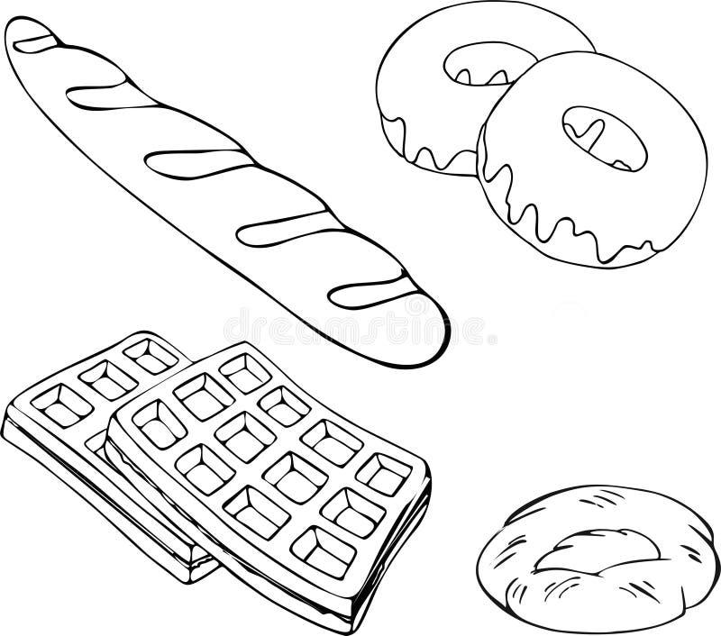 Комплект растра хлебопекарни Магазин хлебопекарни и собрание хлебобулочных изделий изолировали иллюстрацию растра иллюстрация штока