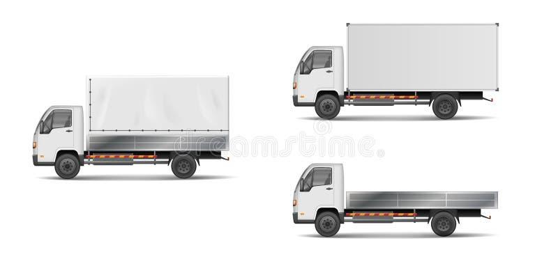 Комплект реалистических белых транспортных машин vector иллюстрация с тяжелым грузовиком, трейлером, грузовиком, фургоном поставк иллюстрация штока