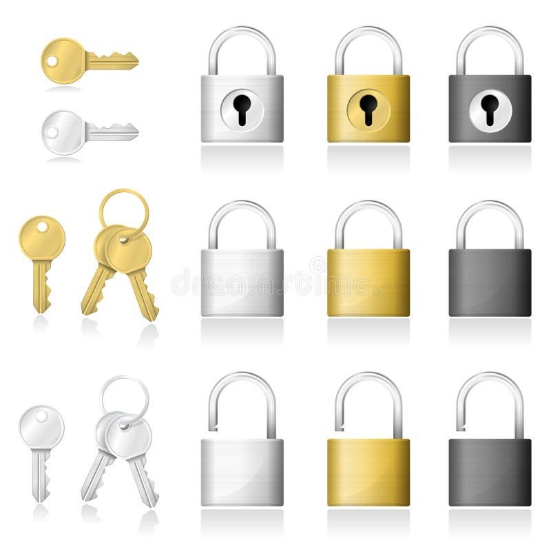 Комплект реалистических значков ключевых и padlock изолированных на белой предпосылке бесплатная иллюстрация