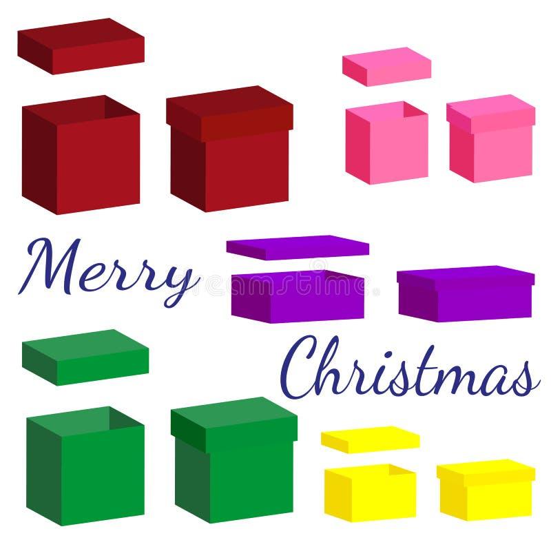 Комплект реалистических коробок с крышкой для подарков на белой предпосылке иллюстрация штока