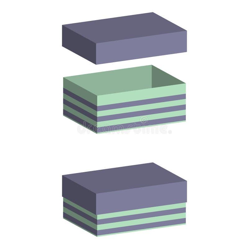 Комплект реалистических коробок с крышкой на белой предпосылке иллюстрация 3d для дизайна Открытая и закрытая коробка иллюстрация вектора