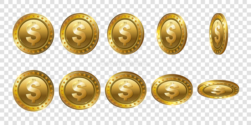 Комплект реалистических монеток золотого доллара 3d Углы сальто различные иллюстрация штока