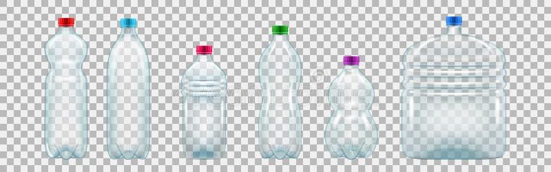 Комплект реалистических пластичных бутылок различных форм и размеров иллюстрация вектора