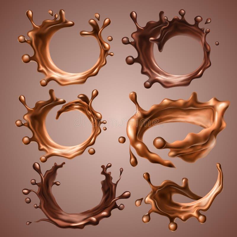 Комплект реалистического брызгает и падает расплавленного молока и темного шоколада Динамический круг брызгает шоколада жидкости  иллюстрация вектора
