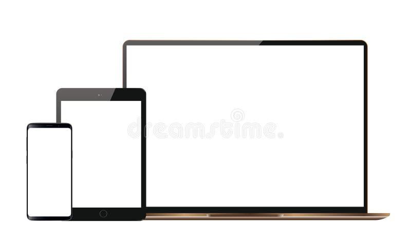 Комплект реалистического дисплея монитора ЖК-телевизора андроида таблетки Ipad мобильного телефона андроида вектора иллюстрация вектора