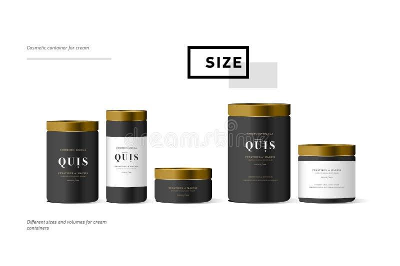 Комплект реалистического черного косметического cream контейнера для cream лосьона Насмешка вверх по бутылке Гель, порошок, бальз иллюстрация штока