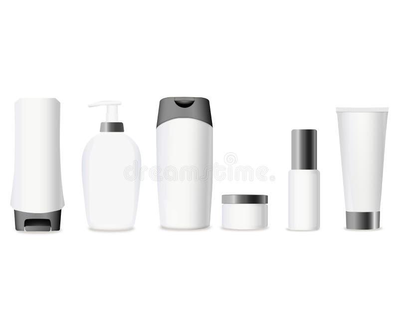Комплект реалистической косметической бутылки на белой предпосылке Косметическое собрание пакета для сливк, супов, пенится, шампу иллюстрация вектора