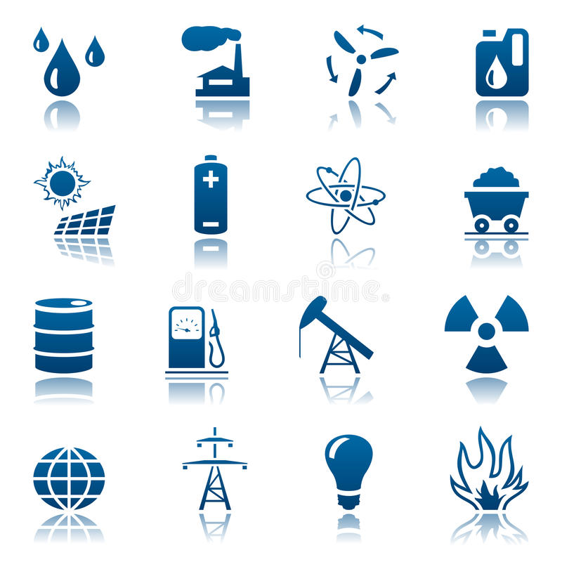 комплект ресурса иконы энергии иллюстрация вектора