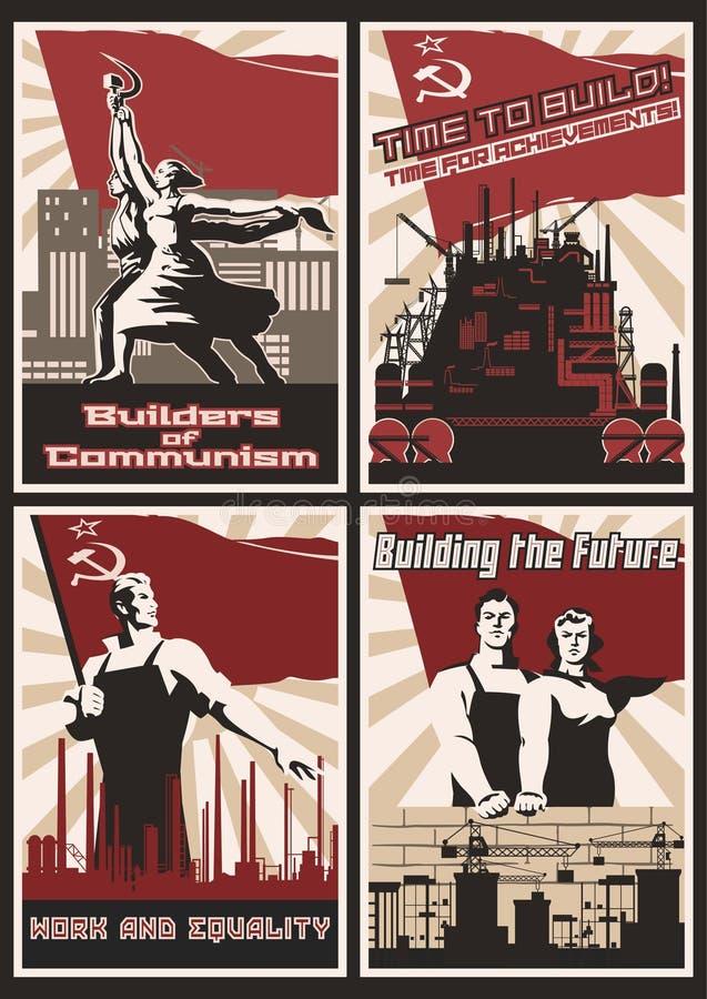 Комплект ретро плакатов пропаганды коммунизма стоковые изображения rf