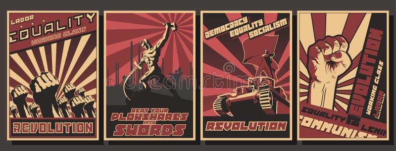 Комплект ретро плакатов пропаганды коммунизма стоковое фото