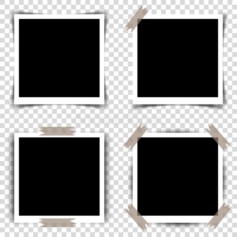Комплект ретро рамок фото с тенями также вектор иллюстрации притяжки corel иллюстрация штока