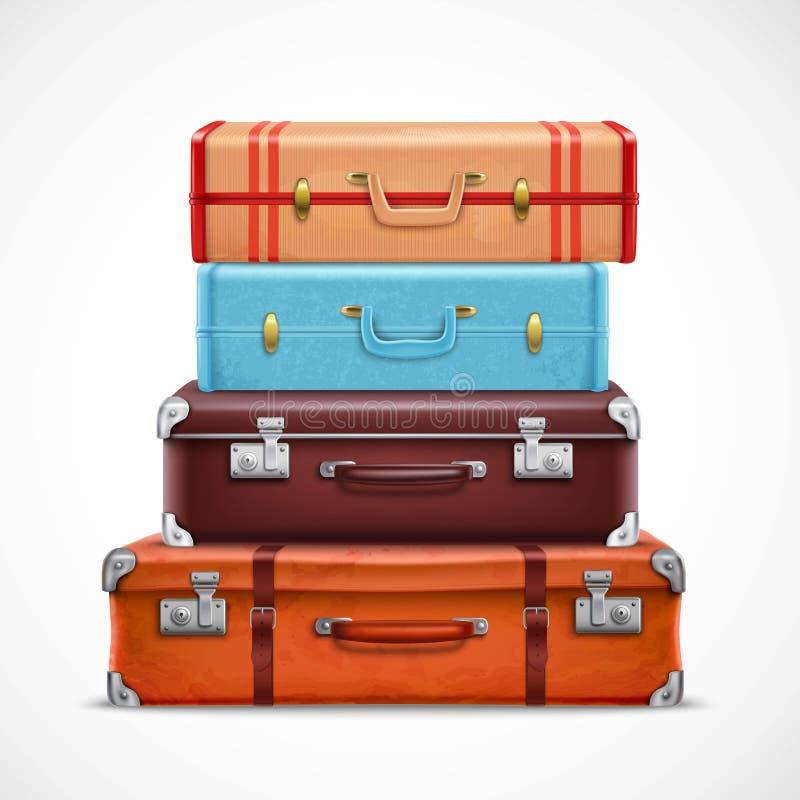 Комплект ретро чемоданов багажа перемещения реалистический иллюстрация вектора