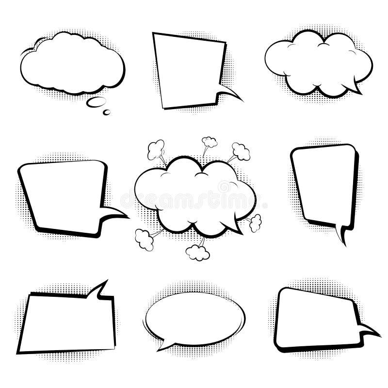 Комплект ретро шаржа, эскиза речи клокочет шуточная речь Пустые облака диалога в стиле искусства шипучки Sketch черно-белое векто иллюстрация вектора