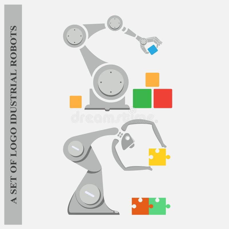 Комплект роботов логотипов промышленных на белой предпосылке стоковые фото