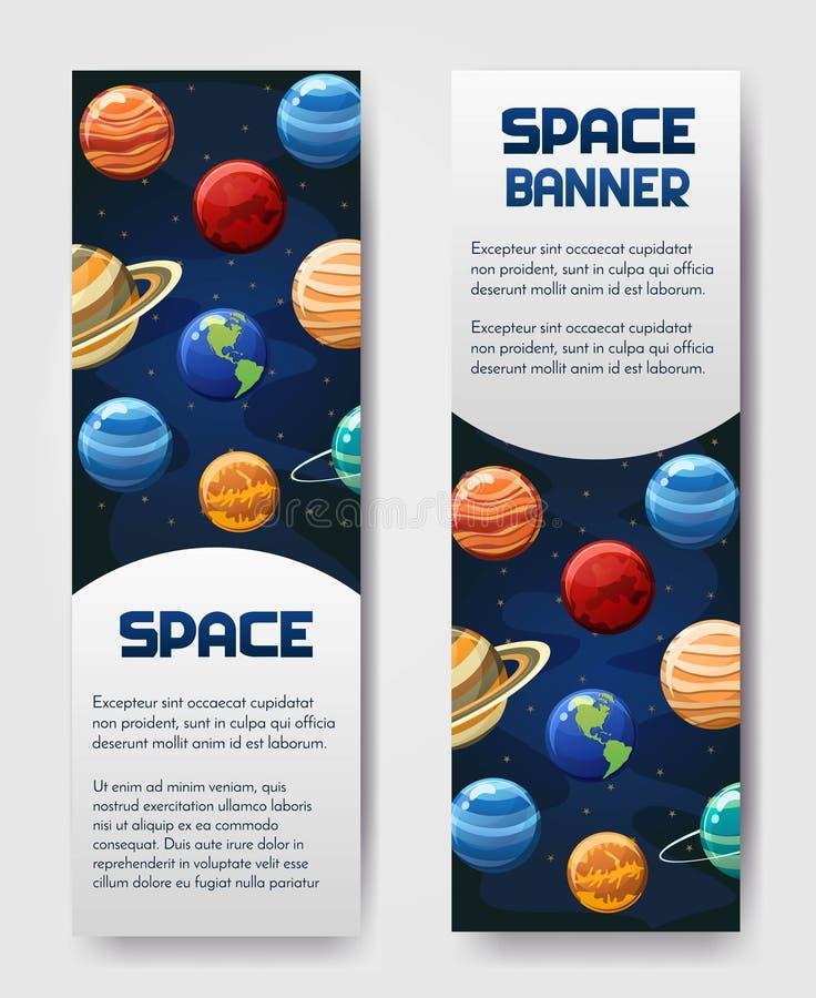 Комплект рогульки 2 векторов, знамени, brouchure с планетами Вселенная, галактика, космический ярлык стиля стоковое фото rf