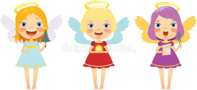 комплект рождества ангелов иллюстрация штока