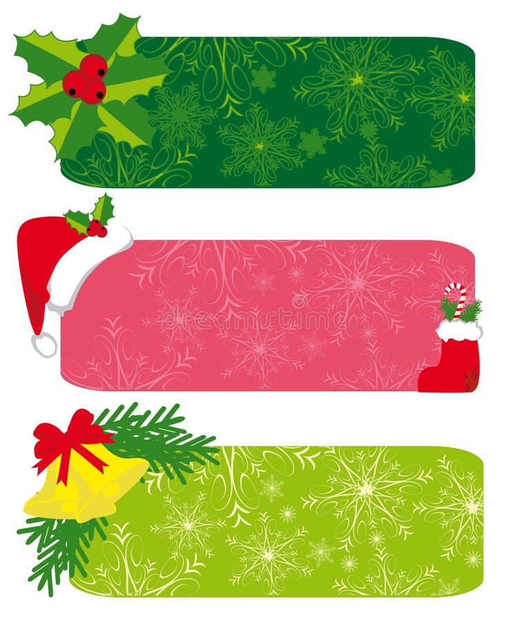 комплект рождества знамен бесплатная иллюстрация
