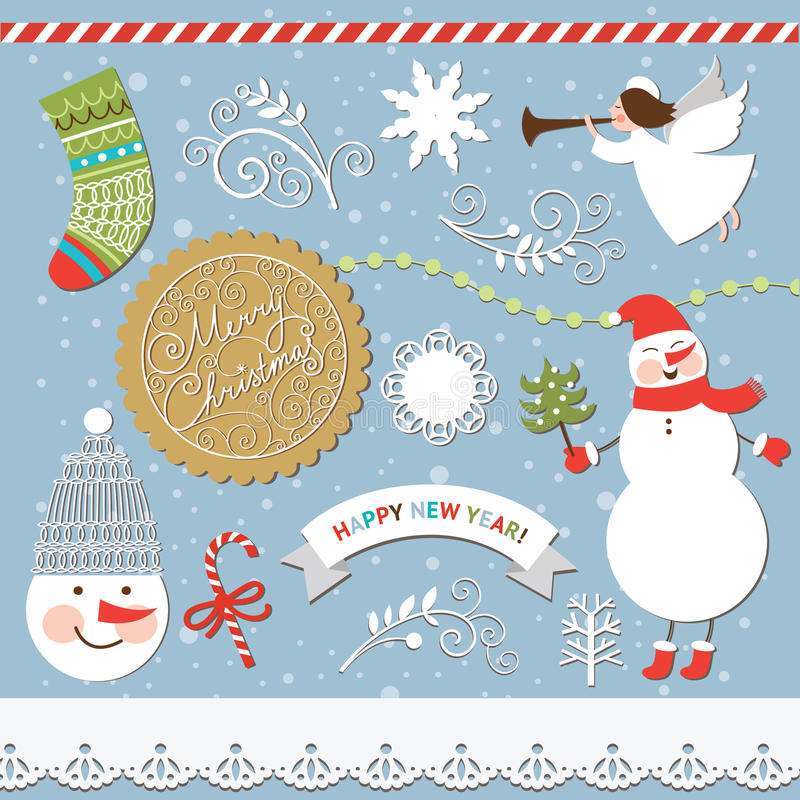Комплект рождества и Новый Год элементов иллюстрация вектора