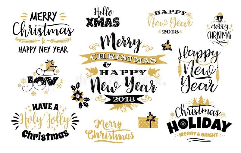 Комплект рождества и счастливых дизайнов литерности Нового Года иллюстрация штока