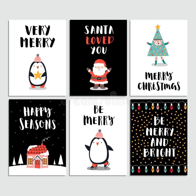 комплект рождества карточки веселый также вектор иллюстрации притяжки corel иллюстрация вектора