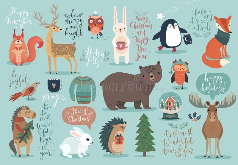 Комплект рождества, нарисованный рукой стиль - каллиграфия, животные и другое иллюстрация вектора