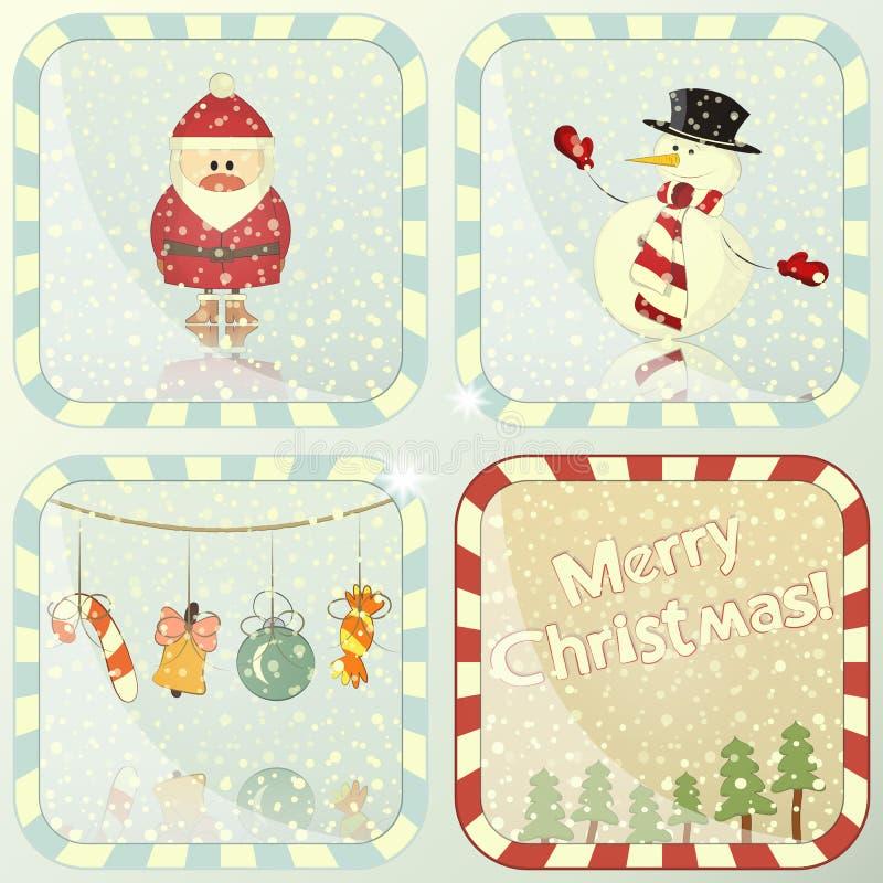 Комплект рождественских открыток бесплатная иллюстрация