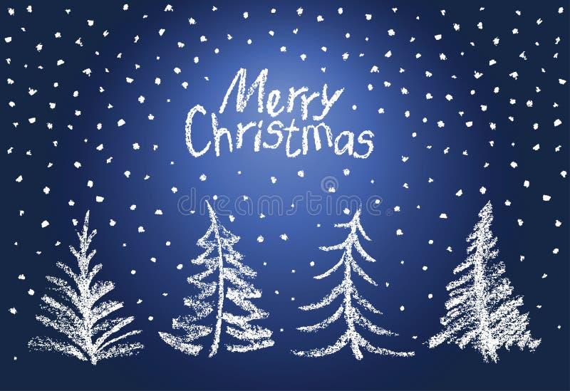 Комплект рождественской елки и падая снежинки Как ` s ребенка рисуя смешной голубой белый дизайн бесплатная иллюстрация