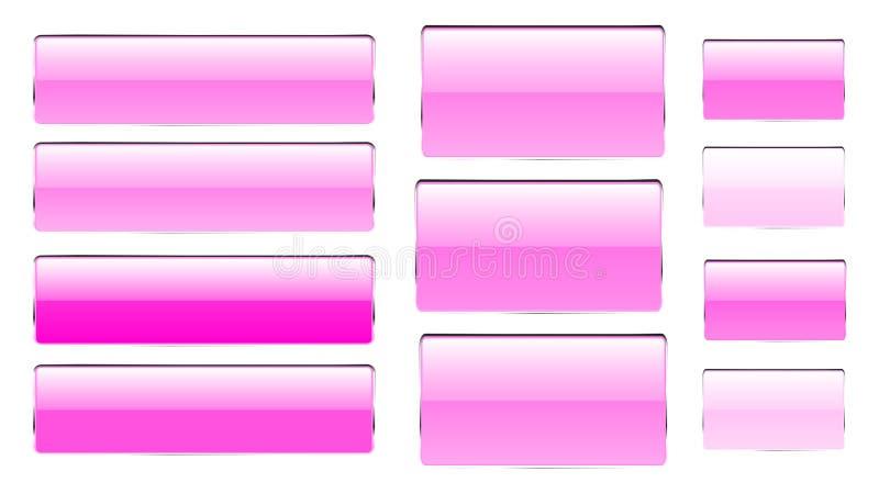 Комплект розовых прямоугольных и квадратных стеклянных прозрачных ярких красивых кнопок вектора различных теней с серебристым fra иллюстрация штока