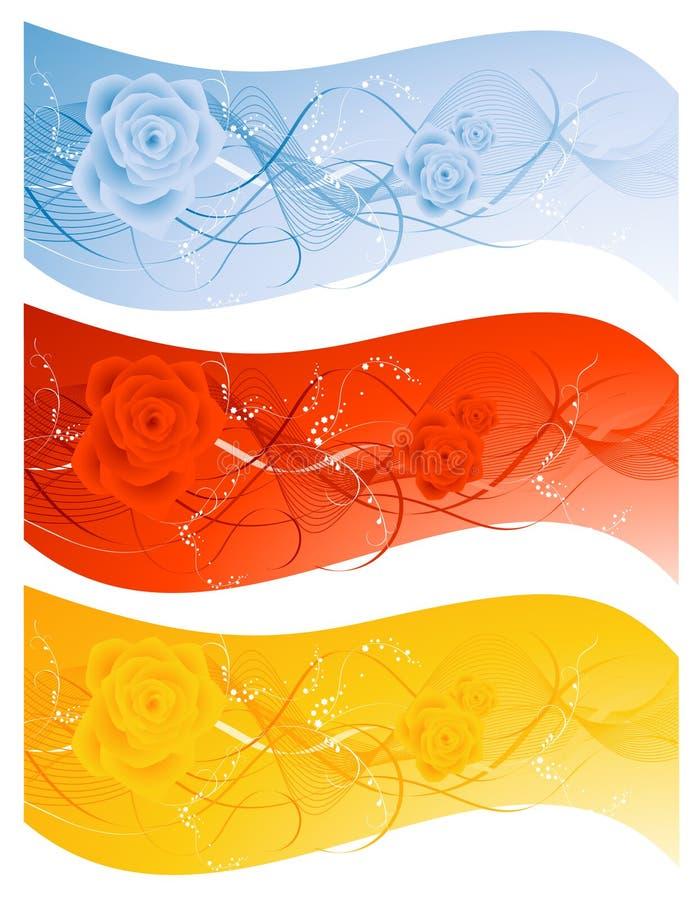 комплект розы предпосылки иллюстрация штока