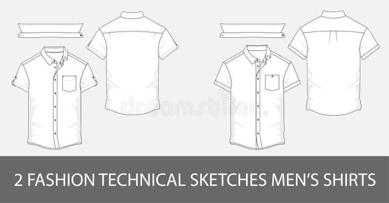 Комплект рубашек ` s людей эскизов моды технических с короткими рукавами в векторе иллюстрация штока