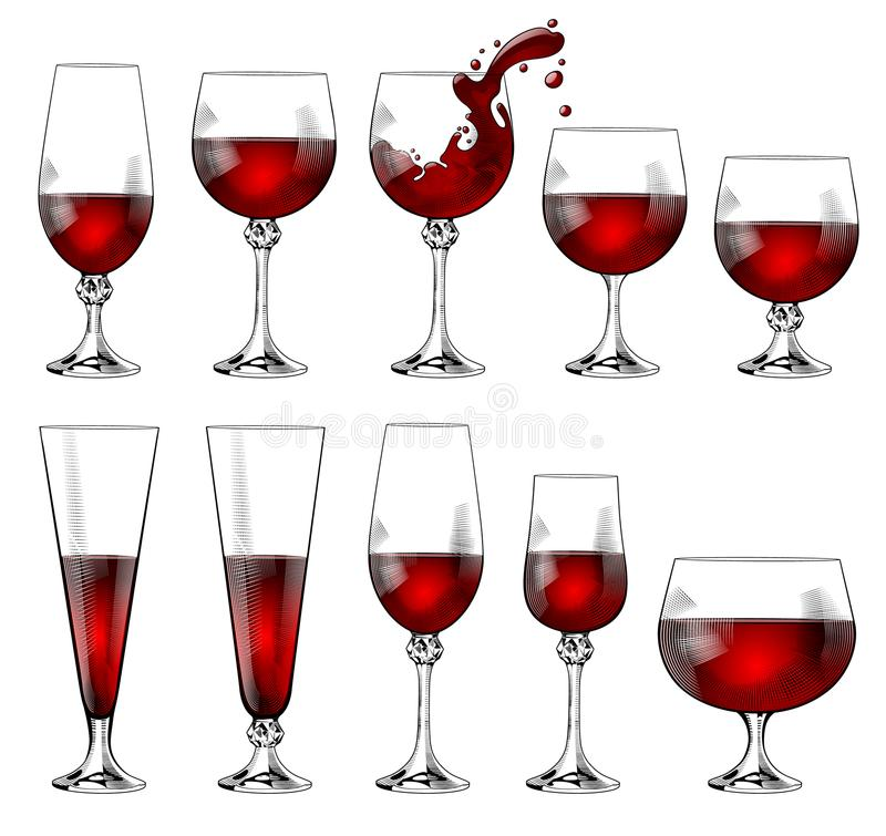 Комплект рюмок различных размеров и форм с красным вином бесплатная иллюстрация