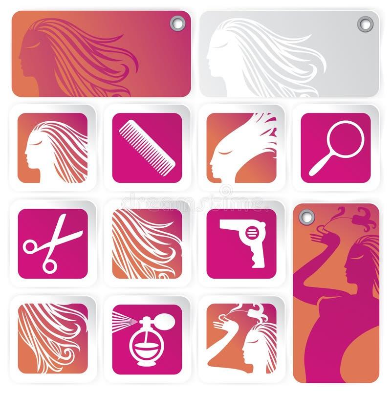 комплект салона волос иллюстрация вектора