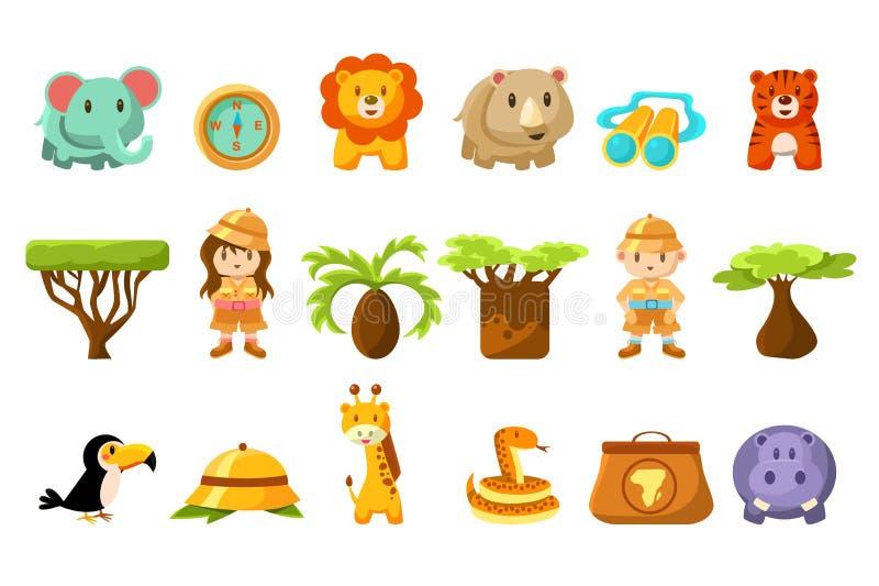 Комплект сафари большой, дети и смешные африканские животные, птицы, деревья vector иллюстрация иллюстрация штока