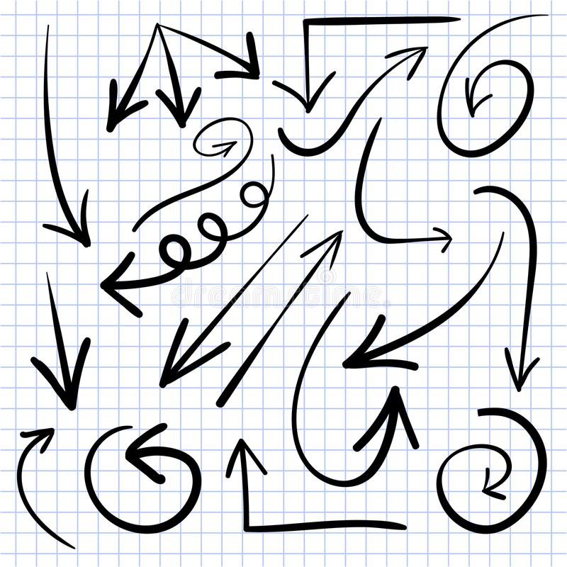 Комплект сделанных эскиз к стрелок вектор Черные стрелки на странице тетради бесплатная иллюстрация