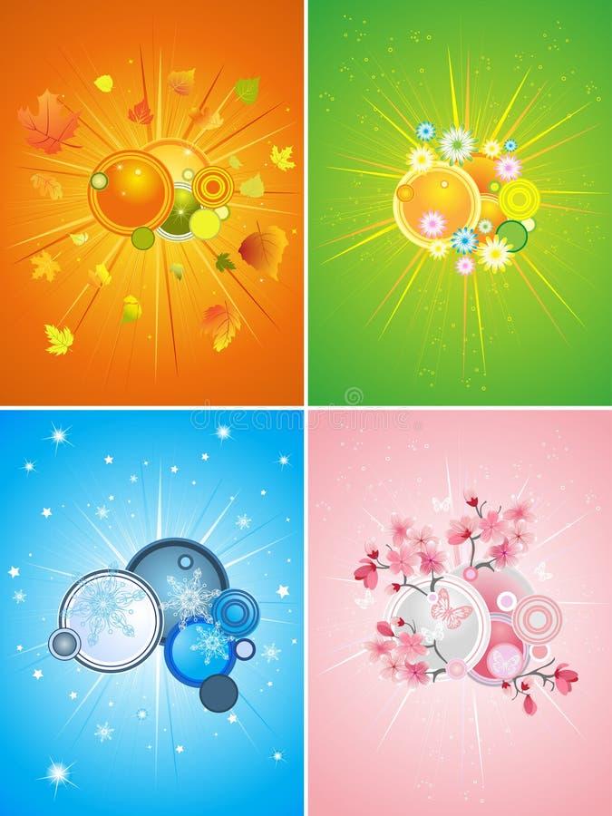 комплект сезона 4 иллюстраций иллюстрация штока